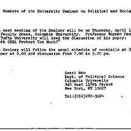 Announcements, 1984-03-19. ...