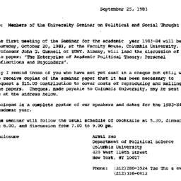 Announcements, 1983-09-25. ...