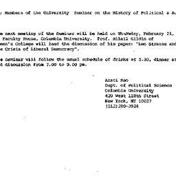 Announcements, 1985-01-29. ...