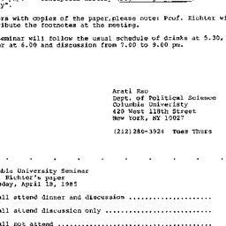 Announcements, 1985-04-02. ...