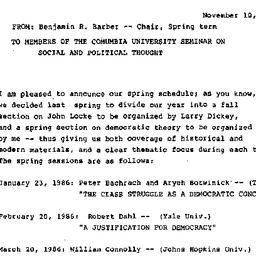 Announcements, 1985-11-10. ...
