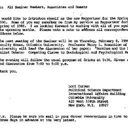 Announcements, 1990-01-25. ...