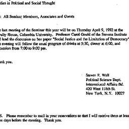 Announcements, 1992-04-09. ...