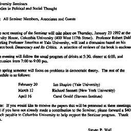 Announcements, 1992-01-23. ...