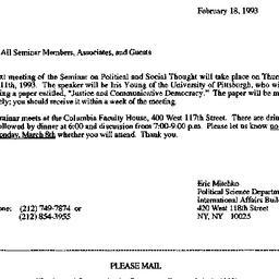 Announcements, 1993-02-18. ...