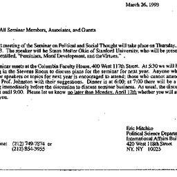 Announcements, 1993-03-26. ...