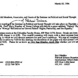 Announcements, 1994-03-10. ...