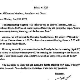 Announcements, 1999-04-05. ...
