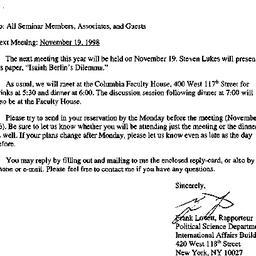 Announcements, 1998-10-29. ...