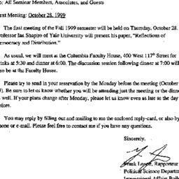 Announcements, 1999-10-18. ...