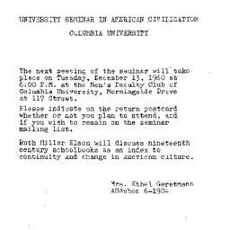 Announcements, 1960-12-13. ...