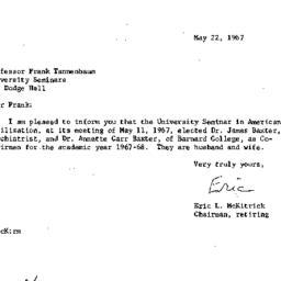 Correspondence, 1967-05-22....