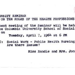 Announcements, 1964-03-27. ...
