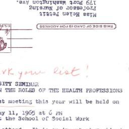 Announcements, 1965-04-30. ...