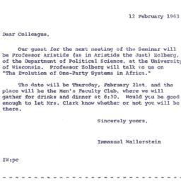 Announcements, 1963-02-12. ...