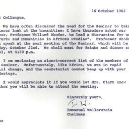 Announcements, 1962-10-16. ...