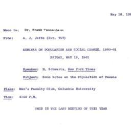 Announcements, 1961-05-10. ...