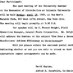 Announcements, 1960-04-07. ...