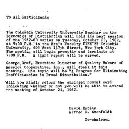Announcements, 1962-10-10. ...