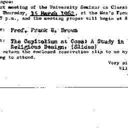 Announcements, 1962-03-15. ...