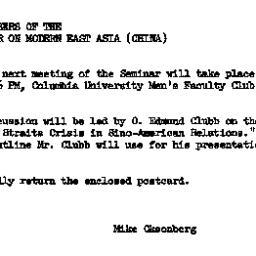 Announcements, 1962-01-10. ...