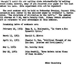Announcements, 1963-01-30. ...