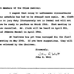 Announcements, 1964-03-15. ...