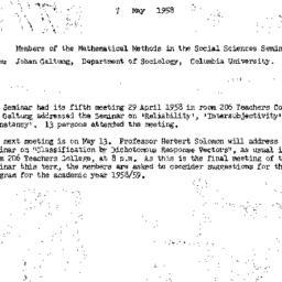 Announcements, 1958-05-07. ...
