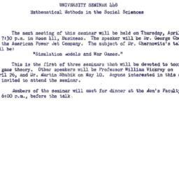 Announcements, 1962-03-30. ...