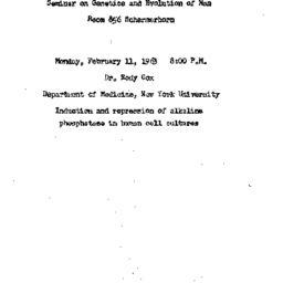 Announcements, 1963-02-11. ...