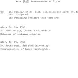 Announcements, 1964-05-11. ...