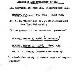 Announcements, 1966-02-21. ...