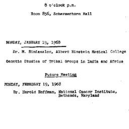 Announcements, 1968-01-15. ...