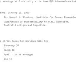 Announcements, 1970-01-19. ...