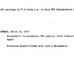 Announcements, 1970-03-16. ...