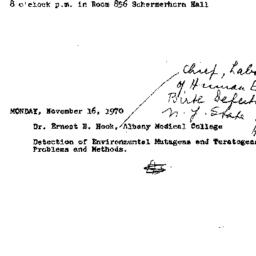Announcements, 1970-11-16. ...
