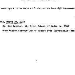 Announcements, 1972-03-20. ...