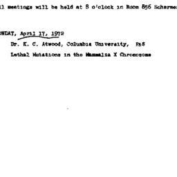 Announcements, 1972-04-17. ...