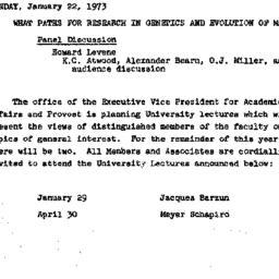Announcements, 1973-01-22. ...