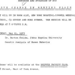 Announcements, 1973-05-21. ...