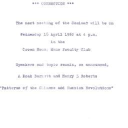 Announcements, 1962-04-18. ...
