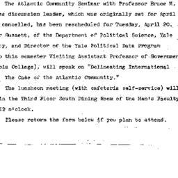 Announcements, 1965-04-12. ...