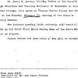 Announcements, 1965-11-11. ...