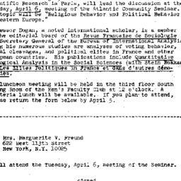 Announcements, 1971-03-22. ...