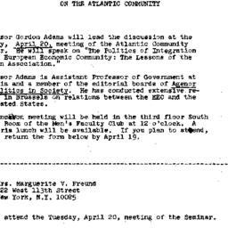 Announcements, 1971-04-09. ...