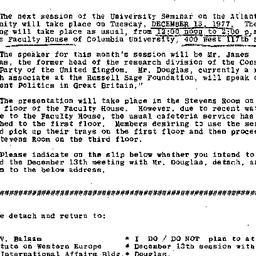 Announcements, 1977-12-13. ...