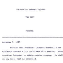Announcements, 1963-12-04. ...