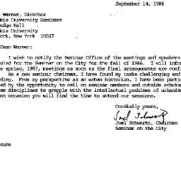 Correspondence, 1986-09-14....