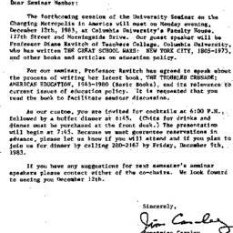 Announcements, 1983-11-21. ...