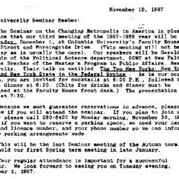 Announcements, 1987-11-10. ...